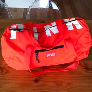 33b359588c1d PINK Victoria s Secret Bags - VS PINK Neon Red Duffle Gym Bag and Bottle